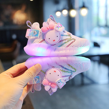 Baby Shoes Sports Autumn 2020 Children Mesh Shoes Rabbit Cute Sneakers With Light Soft Bottom Breathable Flash Girls Shoes