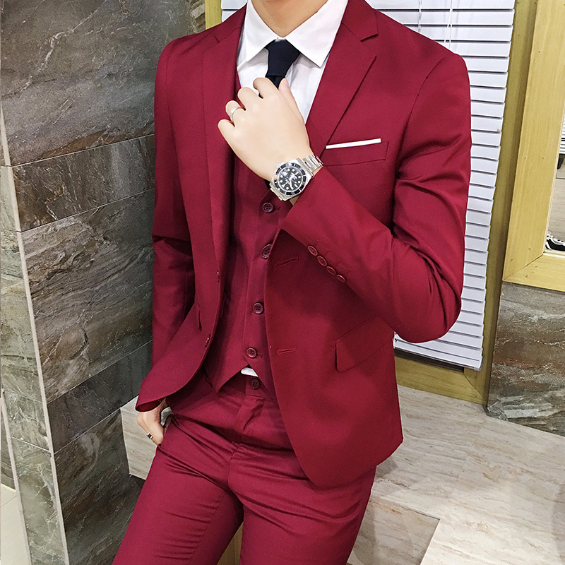 Spring And Autumn New Style Men Business Leisure Suit Three-piece Set Solid Color Large Size Groom Best Man Wedding Suit Formal
