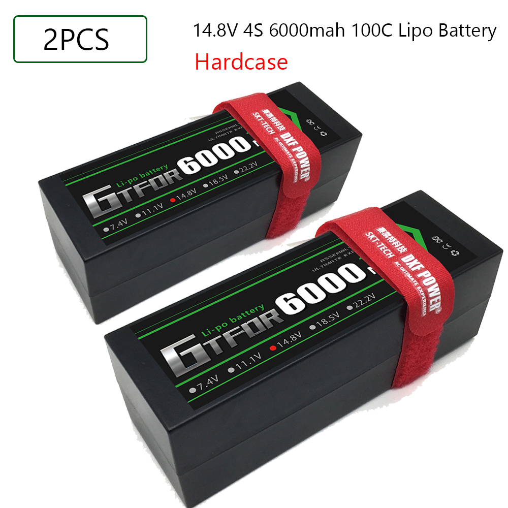 GTFDR <font><b>Lipo</b></font> <font><b>4S</b></font> Battery 14.8V <font><b>6000mah</b></font> 100C T Deans XT60 EC5 XT90 XT90-S Hard Case For 1/10 1/8 Buggy Car Airplanes Boats RC Part image
