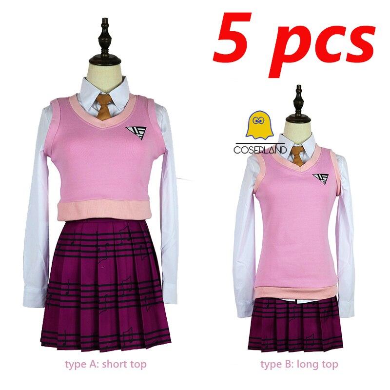 Kacamurça akamatsu fantasia cosplay, conjunto saia rosa escola menina camisa + colete + saia + gravata + meia uniforme cosplay danganronpa v3 halloween