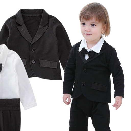 Black Spring and Autumn Creative Baby Suit Boy Clothes Combo Modern Design Baby Suit Baby Kleding Jongen Baby Clothes BD50YE