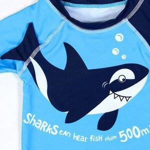 Image 3 - Erkek mayo UPF50 üç adet yenidoğan mayo köpekbalığı baskı bebek bebek banyo kıyafetleri mayo için çocuk havuzu plaj kıyafeti