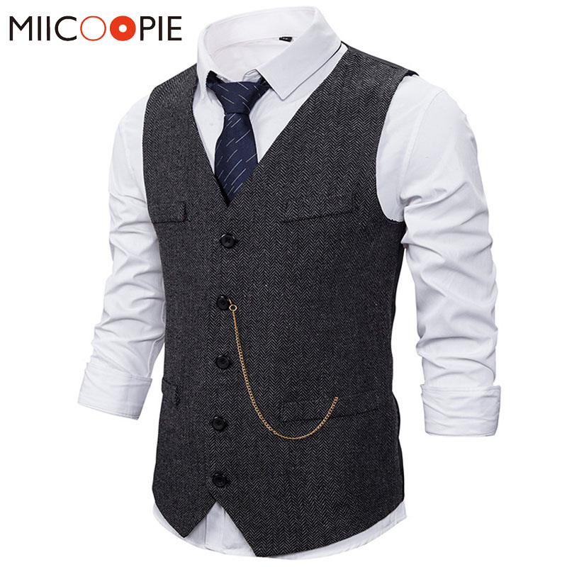 Formal Mens Suit Vest 2020 New Casual Chain Solid Color Business Tweed Vest Gilet Homme Costume Waistcoat For Wedding Groomsmen