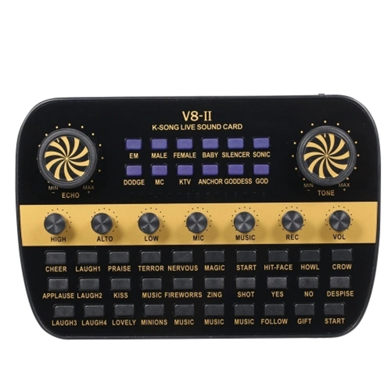 V8 Updated Live Sound Card Intelligent Volume Adjustable Audio Mixer Sound Card for Computer Pc Live Sound