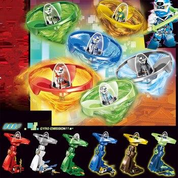 Ninjagoes Kai Jay Zane mini figures Ninja Spinning Top Spinners Action Model Spin Bricks Building Block Toys for Kids Gift
