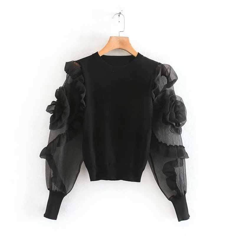 Женская блузка с круглым вырезом, прозрачная трикотажная рубашка из жесткой пряжи с длинным рукавом, украшенная цветами и оборками, 2724