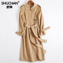 Shuchan 100% Wool Trench Coat Women Double Breasted Adjustable Waist Solid Womens Clothing Autumn Winter 2019 New Item