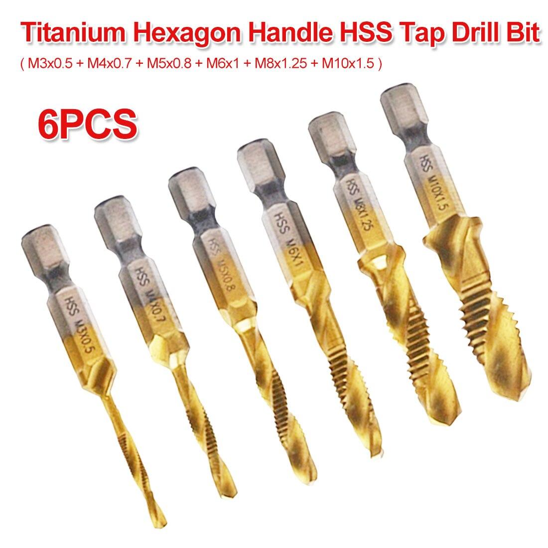 M3 M4 M5 M6 M8 M10 6pcs 1/4 Hex Shank Titanium Coated HSS Drilling Tap Bit Thread Screw Tool For Soft Metal Twist Drill Bit Set