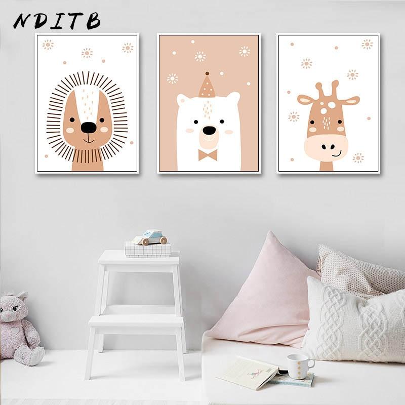 Lienzo de arte para pared de animales del bosque, pintura para guardería, cartel de León y jirafa, cuadro decorativo nórdico para niños, decoración para dormitorio infantil