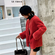 New  wool Coat Warm Fashion Jacket Long Sleeved O-neck Yellow Korean
