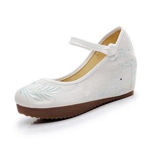 Image 2 - Veowalk נשים מקרית בד רקום נסתרת פלטפורמת נעלי רטרו קרסול רצועת נוחות סיני רקמת שטוח נעלי לאישה