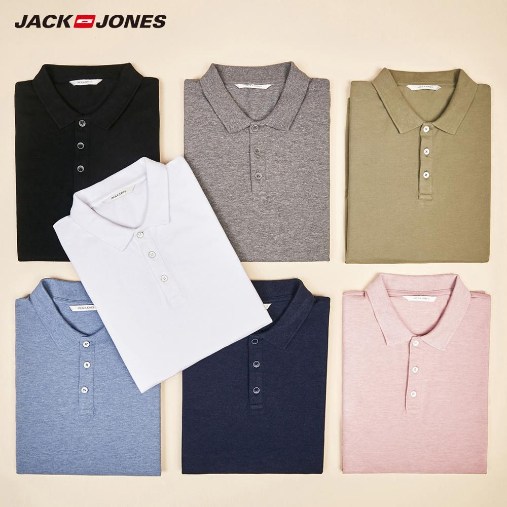 JackJones Men's Solid Color Cotton Turn-down Collar Polo Shirt Menswear 219106516
