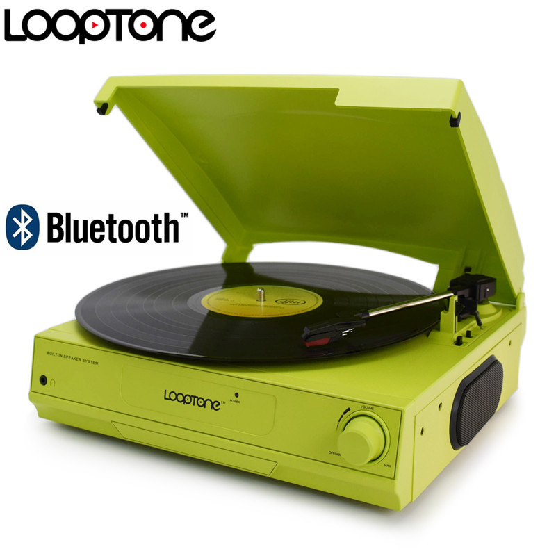 LoopTone 33/45/78 <font><b>RPM</b></font> Bluetooth Vinyl LP Record Player Turntable Built-in Speaker Headphone Jack&RCA Line-out AC110~130&220~240V image