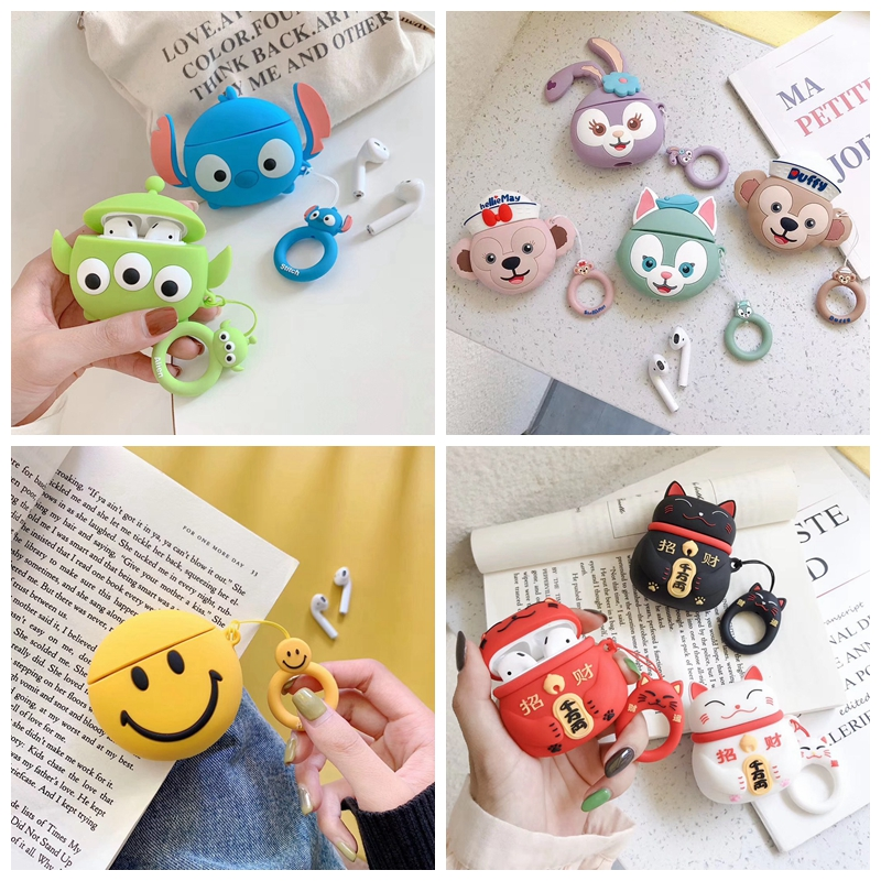 For AirPods Case Cute Alien Stitch Bear Rabbit Duck Cat Earphone Cases For Apple Airpods 2 Protect Cover With Finger Ring Strap