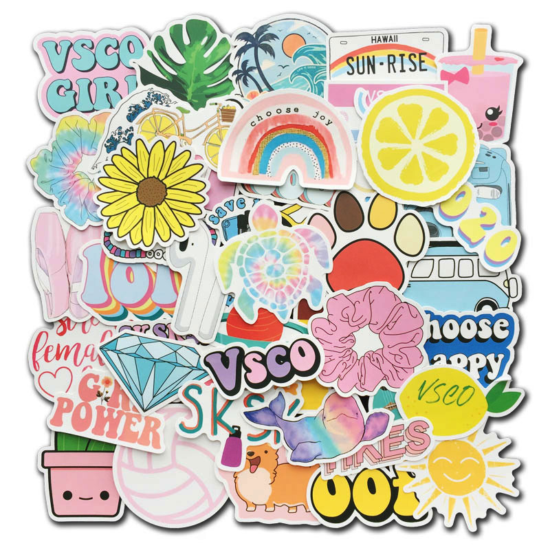 50Pcs/Lot Colorful Vsco Stickers Hydro Flask Water Bottle Vinyl Decals for Laptop Phone Cute Trendy Aesthetic Teen Girls Sticker