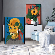 Nordic Abstract Flowers Posters Animal Canvas Painting On The Wall Lion Art Print Morden Pictures For Living Room Home Decor