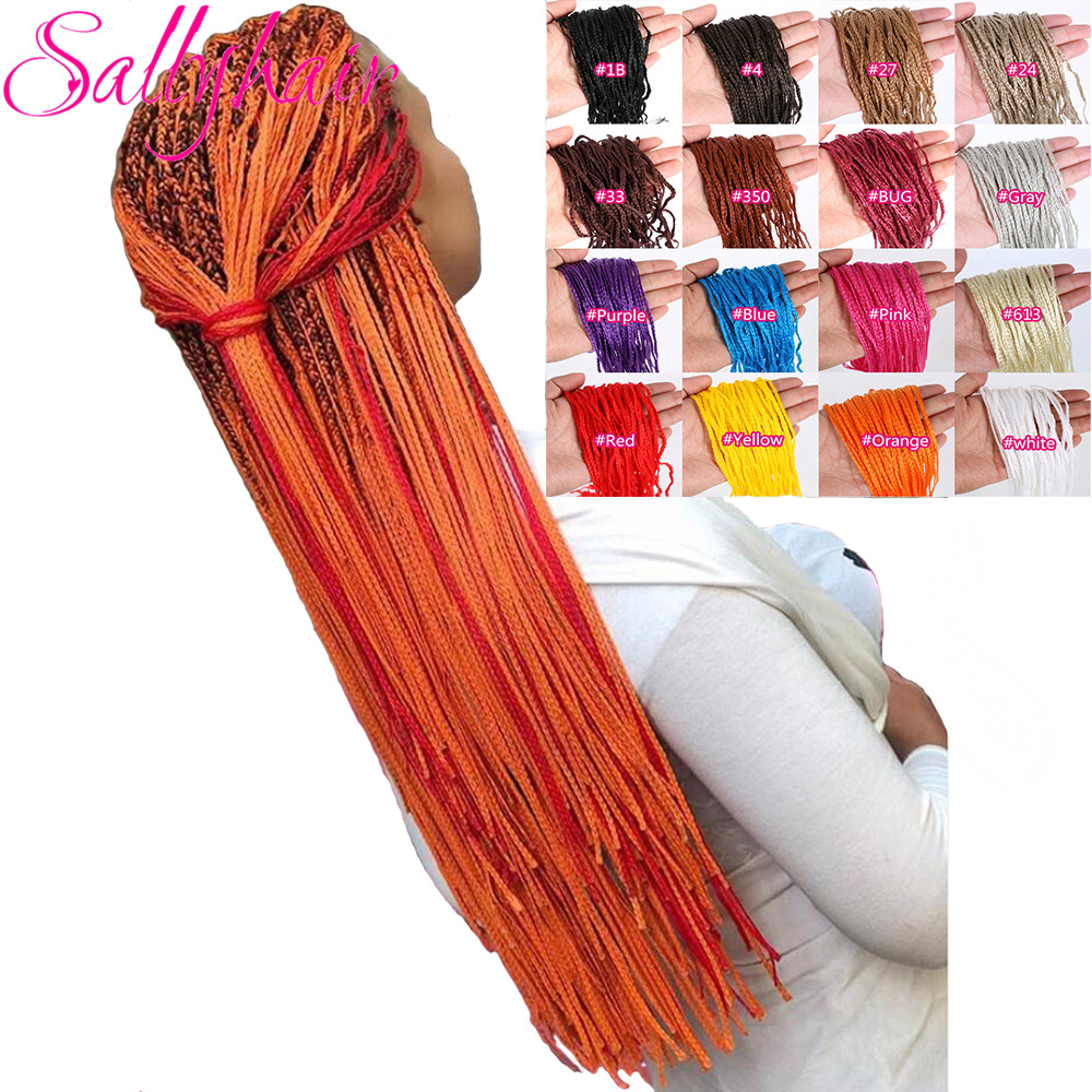 Sallyhair Zizi Braids Crochet Box Braids Colored Synthetic Hair Extensions Bug Gray Blonde Crochet Hair 48Strands/Pack