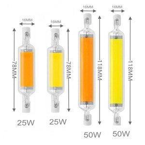 Новый светодиодный R7S COB Стекло трубки лампы 78 мм 25 Вт 118 мм 50 Вт R7S лампа «Кукуруза» J78 J118 заменить галогенные светильник 100W 150W AC 220V 110V мотоциклов л