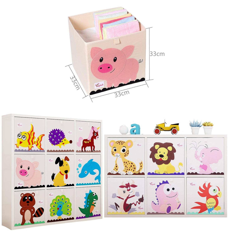 New 13 Inch Cartoon Animal Cube Storage Box Folding Washed Oxford Cloth Fabric Storage Bins For Toys Organizers Storage Basket