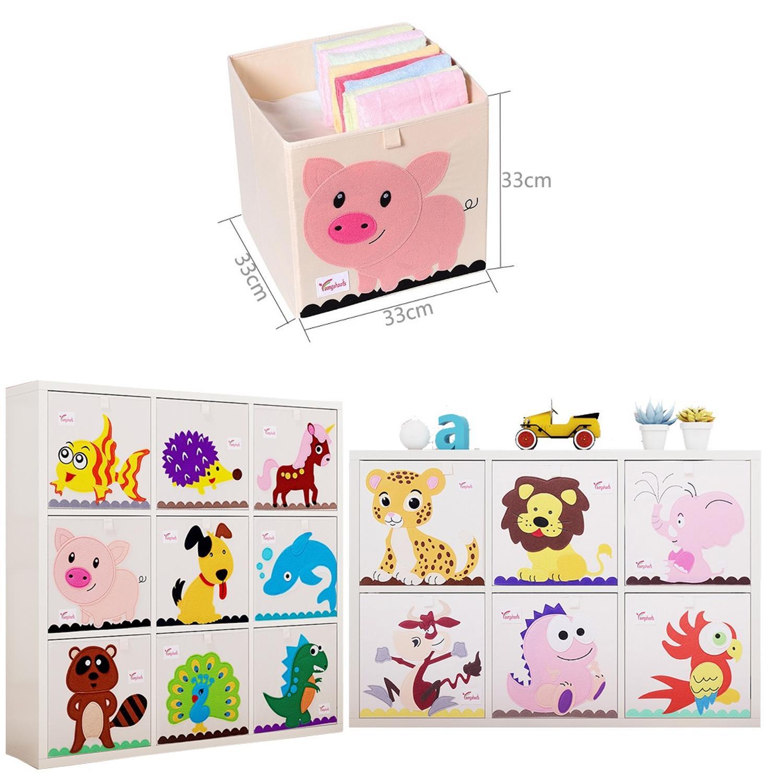 Nowy 13 cal Cartoon zwierząt pudełko do przechowywania kostek składane myte Oxford tkaniny pojemniki do przechowywania na zabawki organizatorzy kosz do przechowywania