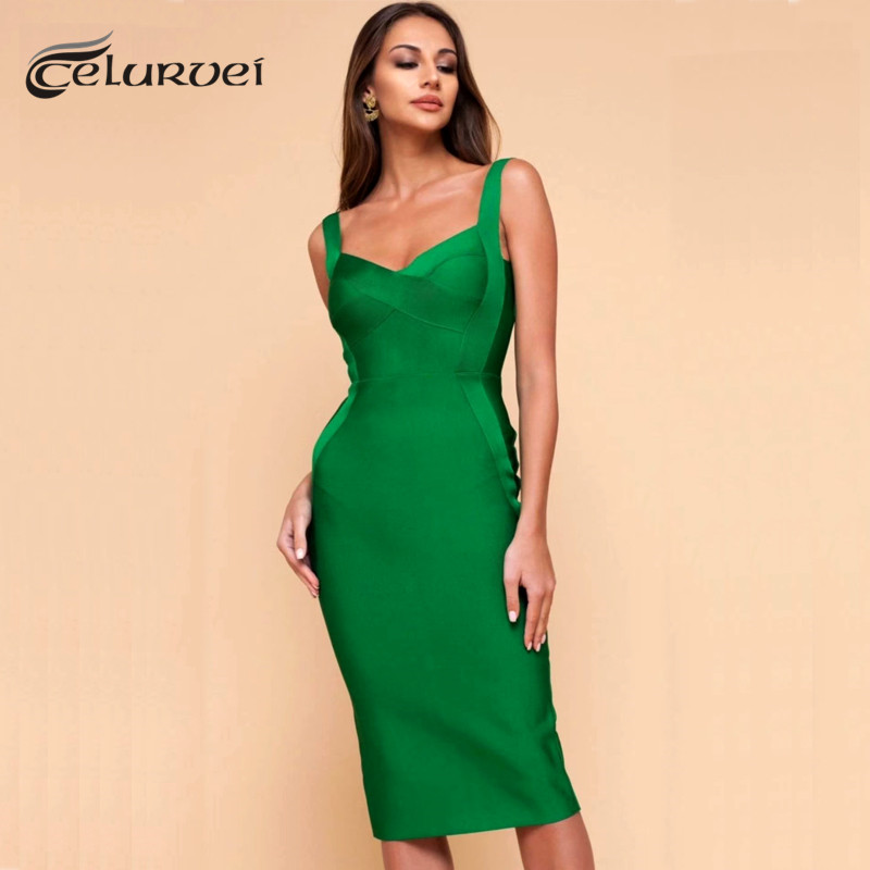 High Quality Pink Green Red Bodycon Knee Length Rayon Bandage Dress Evening Party Dress Vestidos(China)