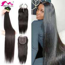 Human-Hair-Weave-Bundles Lace Closure Frontal Virgin Long-Hair Free-Part Straight Brazilian