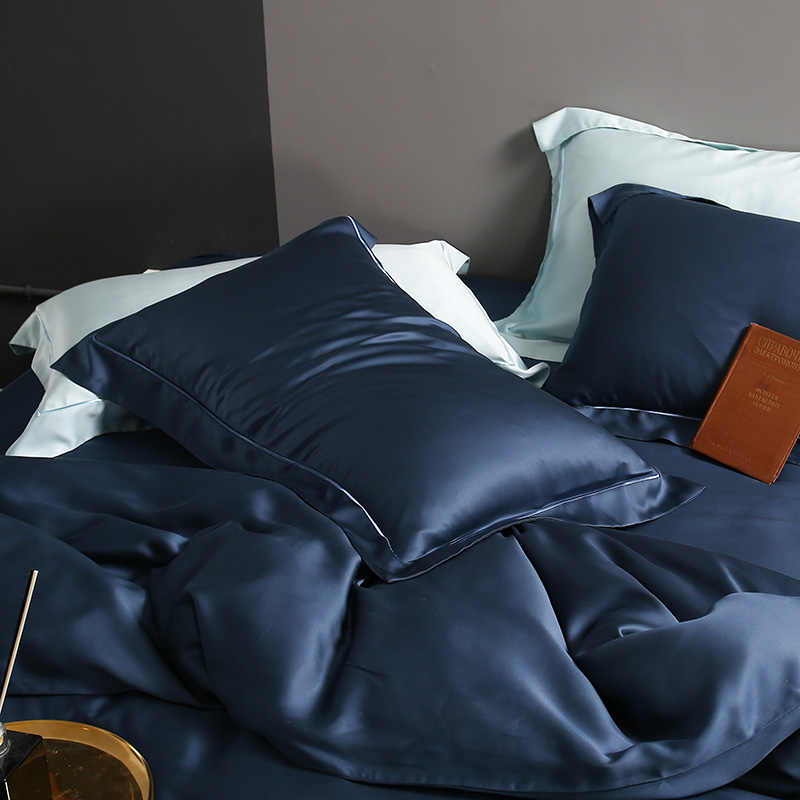Sondeson-ensemble de literie 100% bleu foncé | En soie, 25 Momme, housse de luxe, peau saine, draps de lit, Double reine