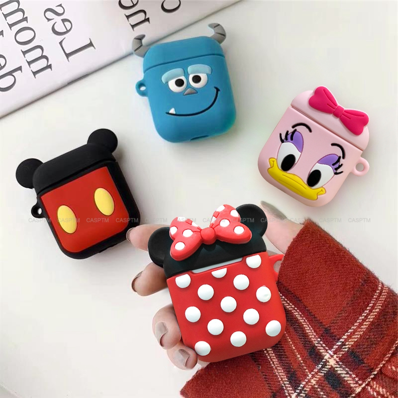3D Cute Cartoon Mouse Earphone Cases For AirPods 1/2 Funny Bear Protect Cover With Keychain For Apple Airpods 2 Case Accessories