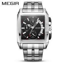 MEGIR นาฬิกาควอตซ์ชายสุดหรูสแตนเลสสตีลแบรนด์ยอดนิยมนาฬิกา Chronograph นาฬิกาข้อมือ Relogio Masculino