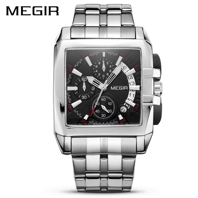 MEGIR Luxury Quartz Men Watch Stainless Steel Strap Top Brand Dress Business Watches Chronograph Wristwatches Relogio Masculinomasculinomasculinos relogiosmasculino watch -