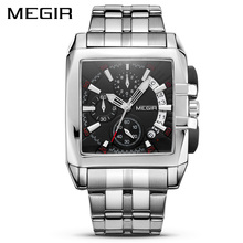 MEGIR Luxury Quartz Men Watch Stainless Steel Strap Top Brand Dress Business Watches Chronograph Wristwatches Relogio Masculino