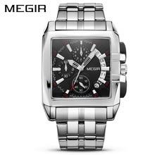 MEGIR lüks kuvars erkekler İzle paslanmaz çelik kayış üst marka elbise iş saatler Chronograph saatı Relogio Masculino