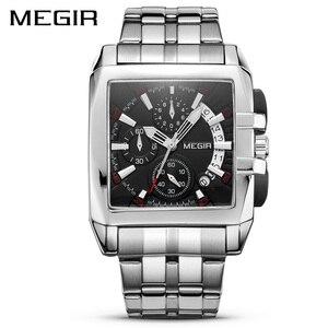 Image 1 - MEGIR montre à Quartz de luxe pour hommes, en acier inoxydable, montre bracelet, grande marque, Business, chronographe