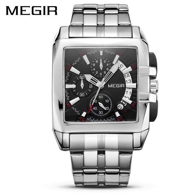 MEGIR montre à Quartz de luxe pour hommes, en acier inoxydable, montre bracelet, grande marque, Business, chronographe