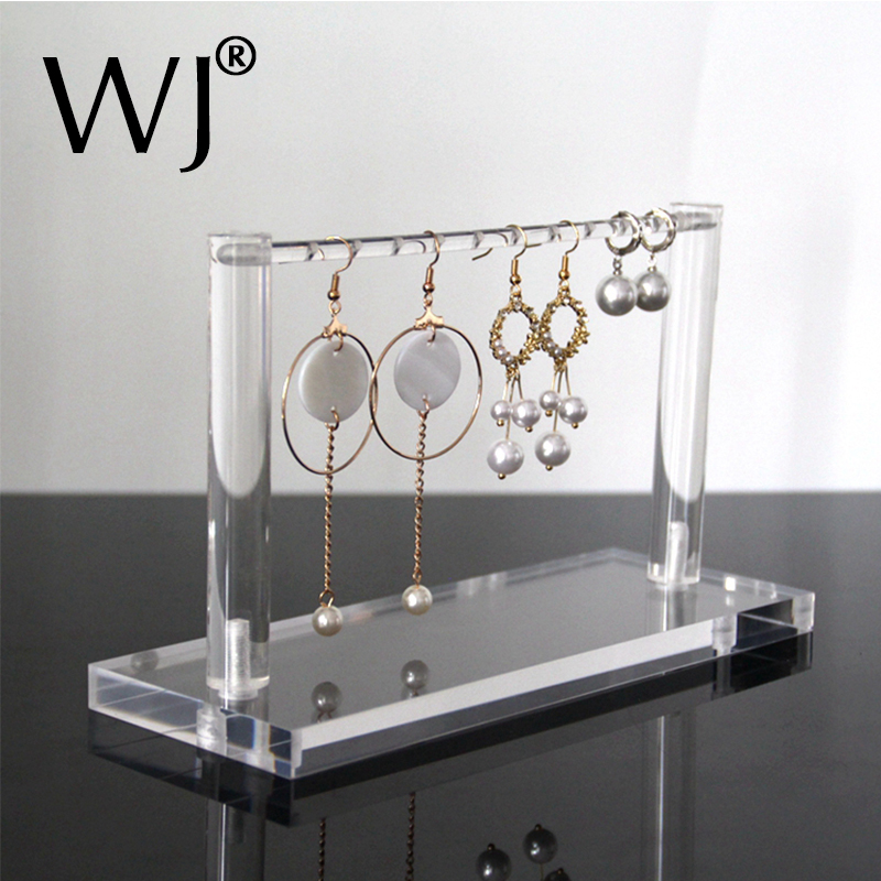 Transparent Acrylic Perspex Jewelry Hanger Earrings Pendant Display Stand Holder Support Case Desktop Hanging Shelf Organizer