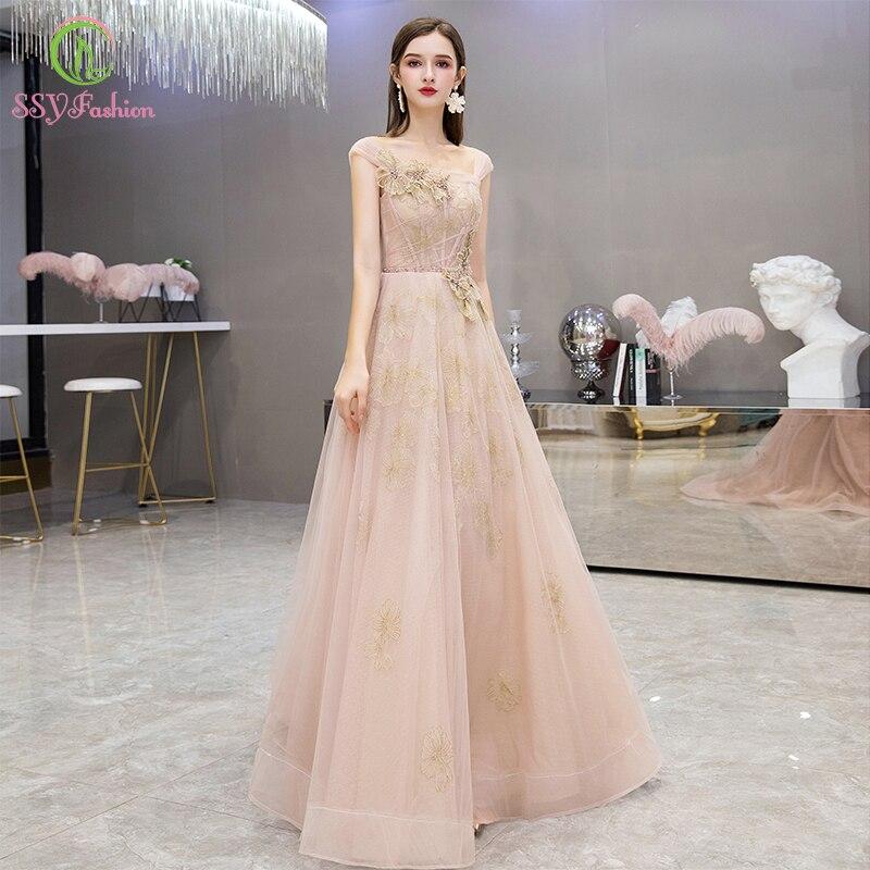 SSYFashion New Romantic Nude Pink Evening Dress Sequins Lace Appliques Floor-length Prom Formal Gowns Custom Vestidos De Noche
