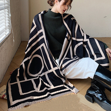 Cashmere Scarf Double-Sided Shawl Hijab Wraps Foulard Bufanda-Head Female Winter Student