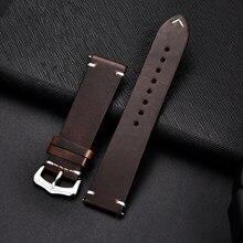 Retro pulseira de couro genuíno óleo cera oleosa descoloração couro pulseira 18 20 22 24mm alta qualidade relógio de negócios banda