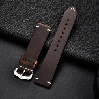 Retro Genuine Leather Strap Oil Wax Oily Discoloration Cowhide Watchband 18 20 22 24mm High Quality Business Watch Band - discount item  50% OFF Watches Accessories