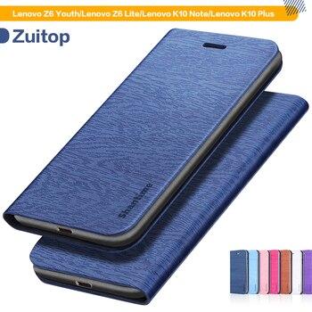 Перейти на Алиэкспресс и купить Чехол из искусственной кожи с деревянным лицевым покрытием для Lenovo Z6 Youth Flip Book Case для Lenovo Z6 Lite/K10 Note/K10 Plus, мягкий силиконовый чехол для задней ...