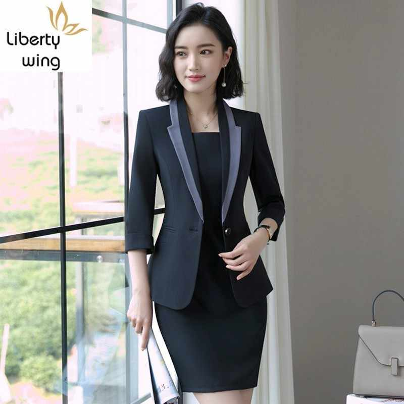 Hot Sale Korean Slim Fit Half Sleeve Blazer Coat Sleeveless Dress 2 Pieces Set Business Office Lady Suits Plus Size S-4XL