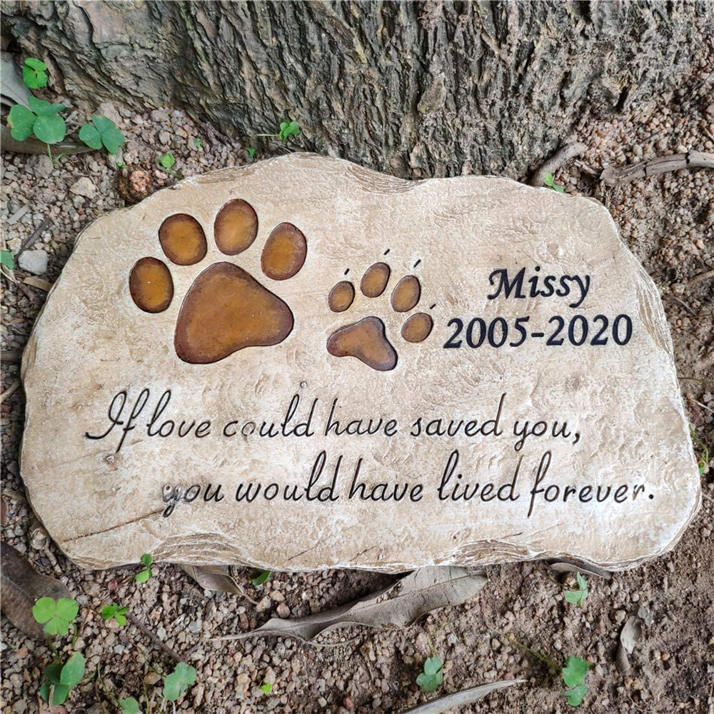 Pet Stones Personalized Paw Print Dog Cat Memorial Stones Stepping Stones Outdoors or Indoors for Garden Backyard Grave Markers