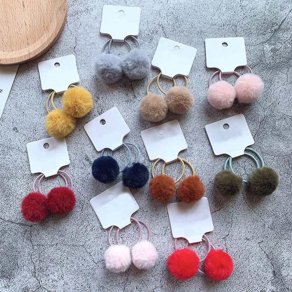 2pcs/set Girls Rabbit Fur Ball Hair Ties Winter New Hair Accessories 3cm  For Kids Girls Pom Pom Ball Elastic Hair Bands Scrunch