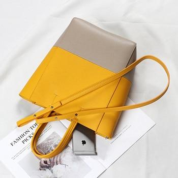 Burminsa Unqiue Design Bucket Genuine Leather Handbags For Women A4 Work Tote Bags High Quality Female Shoulder Bags Summer 2020