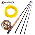 Sougayilang 2.7M Fly Fishing Rod และ Reel Fly Line Combo ชุดโลหะ 5/6 Fishing POLE ปลาปลา Tackle