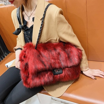 Luxury Faux Fur Bags for Women Winter Handbag Large Capacity Shoulder Bag Females Plush Tote Designer Evening Party Clutch Bag