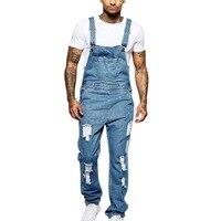 Nice Men Denim Overalls One Piece Full Length Ripped Jeans Jumpsuit Men Slim VogueJeans Overalls Pants Pantalon Homme Jeans