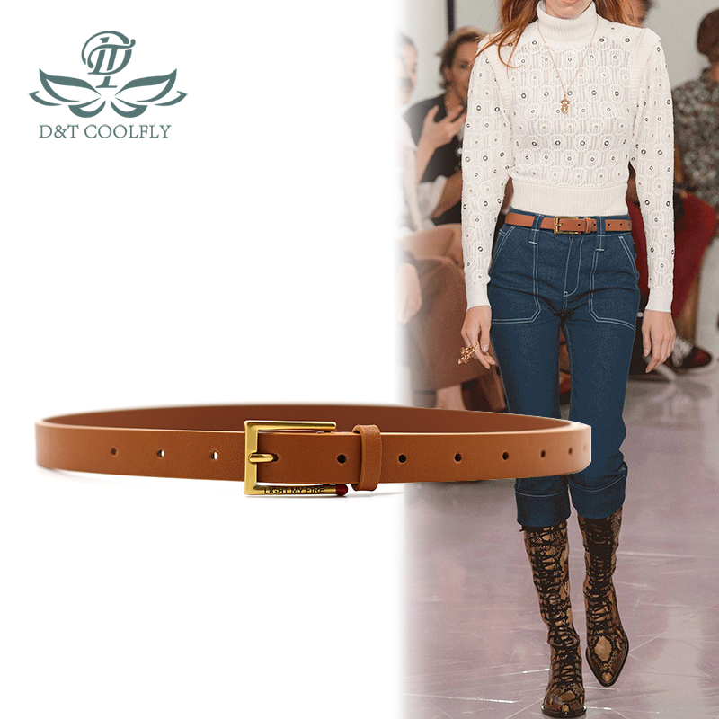 ZLY 2021 New Slender Style Belt Women Unisex Cowskin Leater Material Metal Pin Buckle Match Decorate Quality Elegant Casual Belt