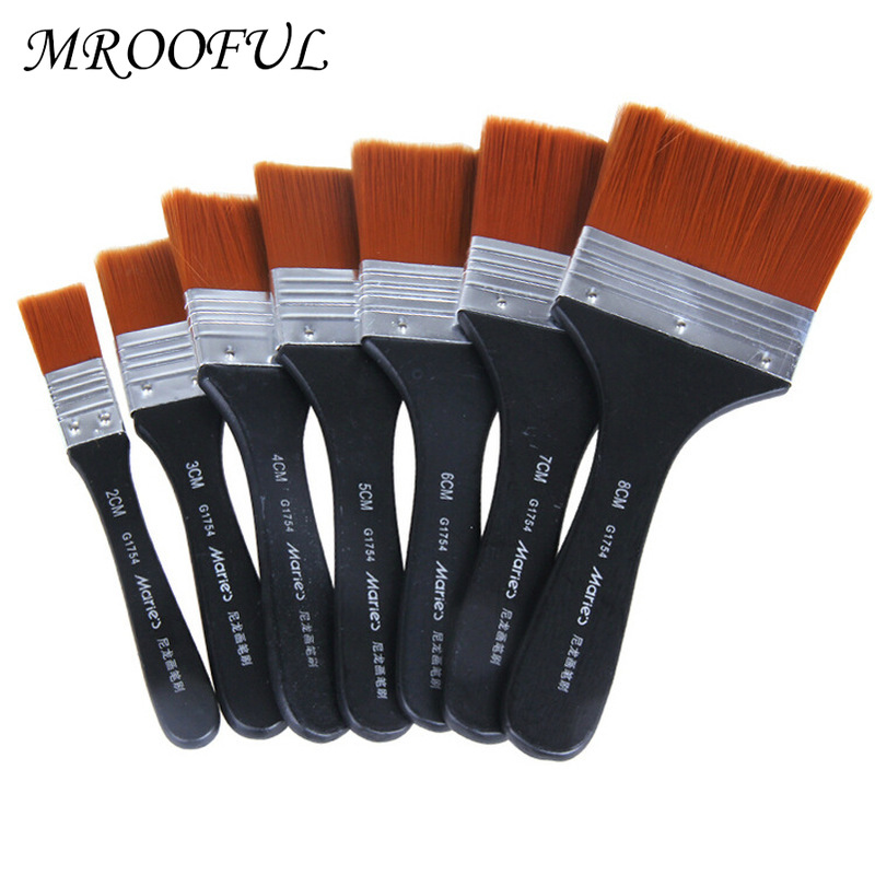 Nylon Hair Oil Painting Brush with Wooden Handle Wall Decor Reusable Barbecue Brush Acrylic Brush Art Supplies Home Tool 2 7#|Paint Brushes|   - AliExpress