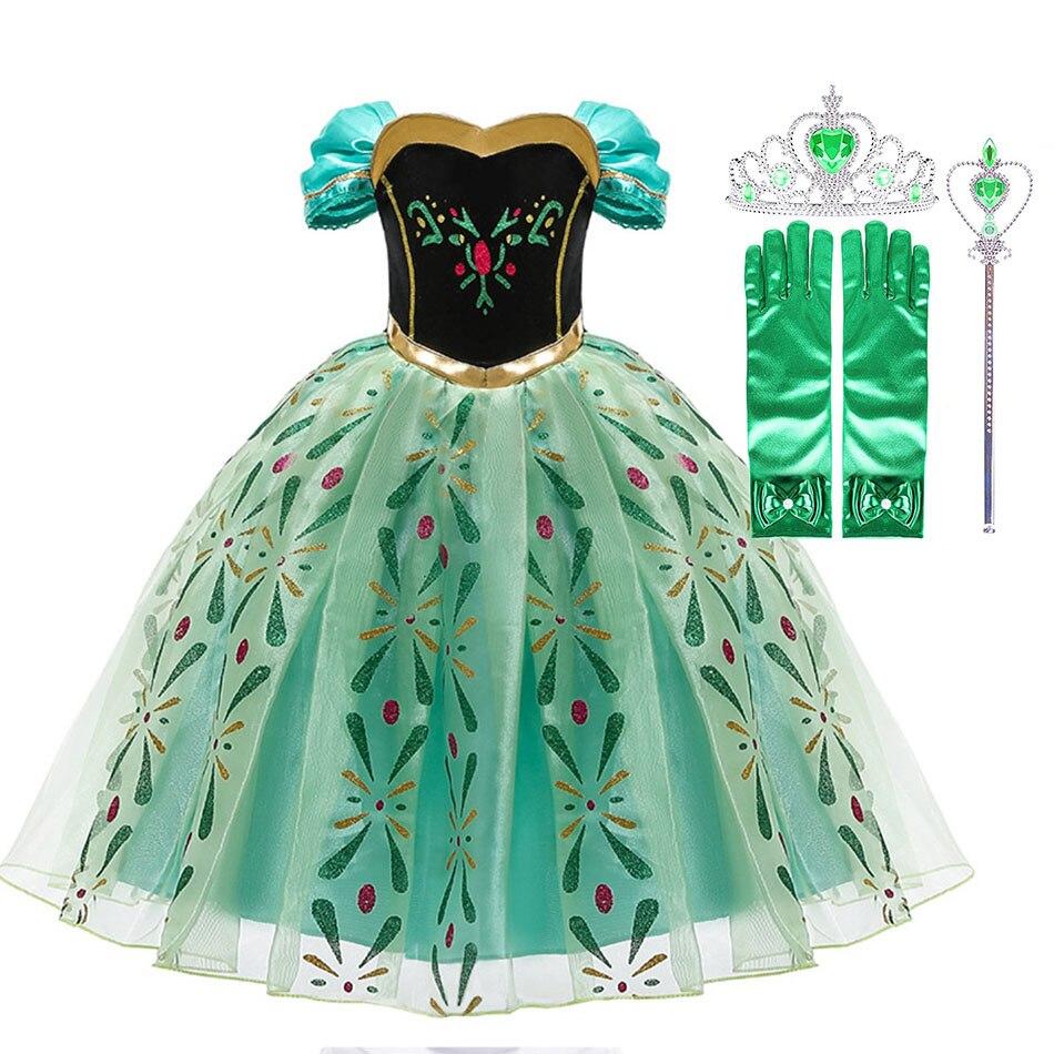 Платья принцессы для маленьких девочек; Нарядный Снежная королева, маскарадный костюм «Анны» для детей на Хэллоуин Одежда для костюмирован...